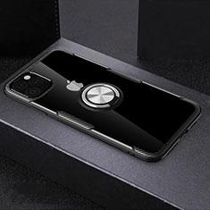 Apple iPhone 11 Pro Max用360度 フルカバーハイブリットバンパーケース クリア透明 プラスチック 鏡面 アンド指輪 マグネット式 M01 アップル ブラック