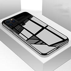 Apple iPhone 11 Pro Max用ハイブリットバンパーケース プラスチック 鏡面 カバー M01 アップル ブラック