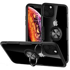 Apple iPhone 11 Pro Max用360度 フルカバーハイブリットバンパーケース クリア透明 プラスチック 鏡面 アンド指輪 マグネット式 M02 アップル ブラック