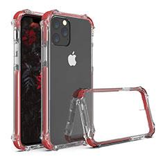 Apple iPhone 11 Pro Max用ハイブリットバンパーケース クリア透明 プラスチック 鏡面 カバー M04 アップル レッド