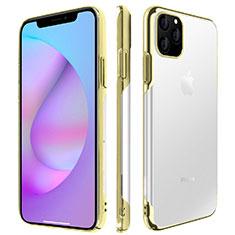 Apple iPhone 11 Pro Max用ハードカバー クリスタル クリア透明 H01 アップル ゴールド