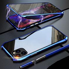 Apple iPhone 11 Pro Max用ケース 高級感 手触り良い アルミメタル 製の金属製 360度 フルカバーバンパー 鏡面 カバー M07 アップル ネイビー