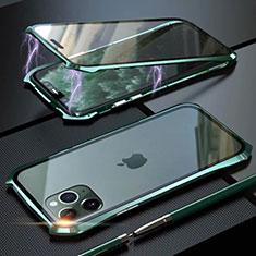 Apple iPhone 11 Pro Max用ケース 高級感 手触り良い アルミメタル 製の金属製 360度 フルカバーバンパー 鏡面 カバー M10 アップル グリーン