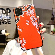 Apple iPhone 11 Pro Max用シリコンケース ソフトタッチラバー 花 カバー H05 アップル オレンジ