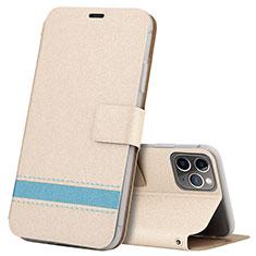 Apple iPhone 11 Pro Max用手帳型 レザーケース スタンド カバー T08 アップル ゴールド