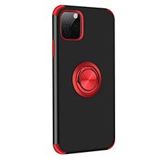 Apple iPhone 11 Pro Max用ハイブリットバンパーケース プラスチック アンド指輪 マグネット式 R06 アップル レッド・ブラック