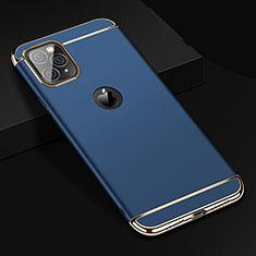Apple iPhone 11 Pro Max用ケース 高級感 手触り良い メタル兼プラスチック バンパー T01 アップル ネイビー