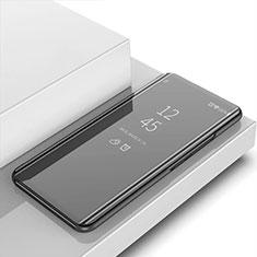 Apple iPhone 12用手帳型 レザーケース スタンド 鏡面 カバー アップル ブラック