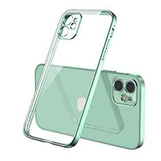 Apple iPhone 12用極薄ソフトケース シリコンケース 耐衝撃 全面保護 クリア透明 H01 アップル グリーン