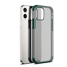 Apple iPhone 12用ハイブリットバンパーケース クリア透明 プラスチック 鏡面 カバー アップル グリーン