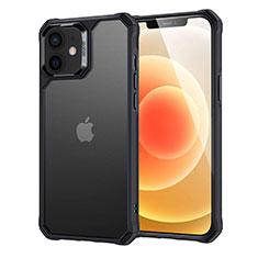 Apple iPhone 12用ハイブリットバンパーケース クリア透明 プラスチック 鏡面 カバー H04 アップル ブラック
