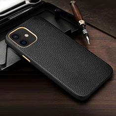 Apple iPhone 12用ケース 高級感 手触り良いレザー柄 R04 アップル ブラック