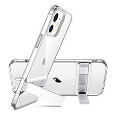 Apple iPhone 12用極薄ソフトケース シリコンケース 耐衝撃 全面保護 クリア透明 アンドサポート アップル レッド