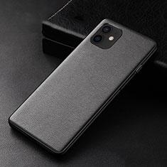 Apple iPhone 12用ケース 高級感 手触り良いレザー柄 R05 アップル ブラック