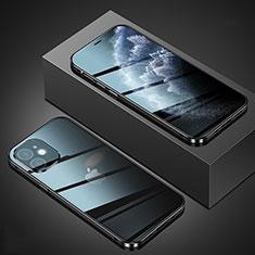Apple iPhone 12用ケース 高級感 手触り良い アルミメタル 製の金属製 360度 フルカバーバンパー 鏡面 カバー T02 アップル ブラック