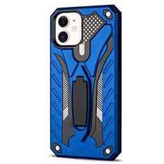 Apple iPhone 12用ハイブリットバンパーケース スタンド プラスチック 兼シリコーン カバー R01 アップル ネイビー