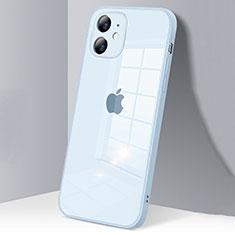 Apple iPhone 12用ハイブリットバンパーケース クリア透明 プラスチック 鏡面 カバー H06 アップル ライトブルー