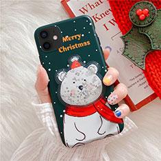 Apple iPhone 12用シリコンケース ソフトタッチラバー クリスマス カバー アップル グリーン