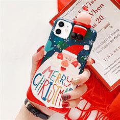 Apple iPhone 12用シリコンケース ソフトタッチラバー クリスマス カバー S01 アップル ネイビー