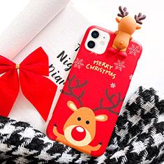 Apple iPhone 12用シリコンケース ソフトタッチラバー クリスマス カバー S02 アップル レッド