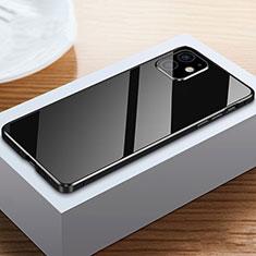 Apple iPhone 12用ケース 高級感 手触り良い アルミメタル 製の金属製 360度 フルカバーバンパー 鏡面 カバー T03 アップル ブラック