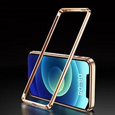 Apple iPhone 12用ケース 高級感 手触り良い アルミメタル 製の金属製 バンパー カバー T01 アップル ゴールド