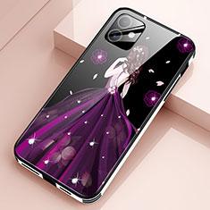 Apple iPhone 12用ハイブリットバンパーケース プラスチック ドレスガール ドレス少女 鏡面 カバー アップル パープル
