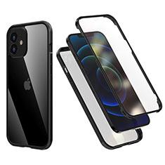 Apple iPhone 12用ハイブリットバンパーケース プラスチック 兼シリコーン カバー 前面と背面 360度 フル R05 アップル ブラック