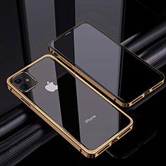 Apple iPhone 12用ケース 高級感 手触り良い アルミメタル 製の金属製 360度 フルカバーバンパー 鏡面 カバー T06 アップル ゴールド