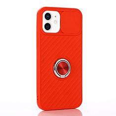 Apple iPhone 12用極薄ソフトケース シリコンケース 耐衝撃 全面保護 アンド指輪 マグネット式 バンパー T01 アップル レッド