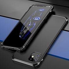 Apple iPhone 12用ケース 高級感 手触り良い アルミメタル 製の金属製 カバー T02 アップル ブラック