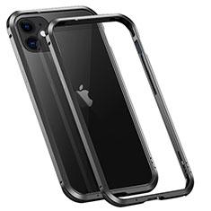 Apple iPhone 12用ケース 高級感 手触り良い アルミメタル 製の金属製 バンパー カバー T02 アップル ブラック