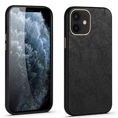 Apple iPhone 12用ケース 高級感 手触り良いレザー柄 R06 アップル ブラック