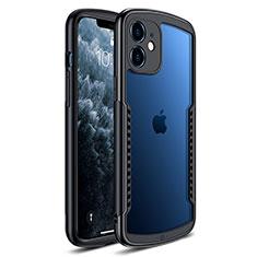 Apple iPhone 12用ハイブリットバンパーケース クリア透明 プラスチック 鏡面 カバー H01 アップル ブラック