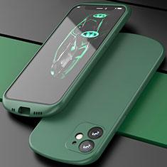 Apple iPhone 12用360度 フルカバー極薄ソフトケース シリコンケース 耐衝撃 全面保護 バンパー N01 アップル グリーン