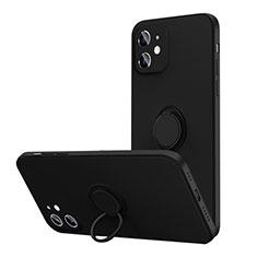 Apple iPhone 12用極薄ソフトケース シリコンケース 耐衝撃 全面保護 アンド指輪 マグネット式 バンパー N01 アップル ブラック