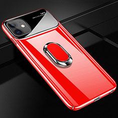 Apple iPhone 12用ハードケース プラスチック 質感もマット アンド指輪 マグネット式 A01 アップル レッド
