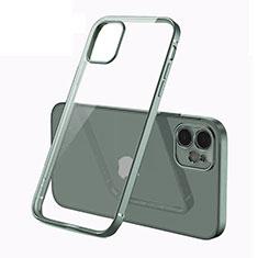 Apple iPhone 12用極薄ソフトケース シリコンケース 耐衝撃 全面保護 クリア透明 N01 アップル モスグリー