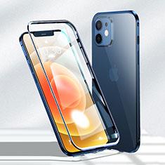 Apple iPhone 12用ケース 高級感 手触り良い アルミメタル 製の金属製 360度 フルカバーバンパー 鏡面 カバー N01 アップル ネイビー