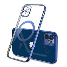 Apple iPhone 12用極薄ソフトケース シリコンケース 耐衝撃 全面保護 クリア透明 カバー Mag-Safe 磁気 Magnetic M01 アップル ネイビー