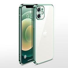 Apple iPhone 12用極薄ソフトケース シリコンケース 耐衝撃 全面保護 クリア透明 N04 アップル グリーン