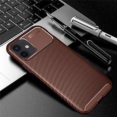 Apple iPhone 12 Mini用シリコンケース ソフトタッチラバー ツイル カバー アップル ブラウン