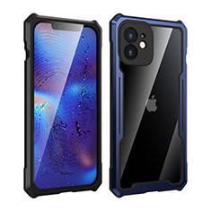 Apple iPhone 12 Mini用ケース 高級感 手触り良い アルミメタル 製の金属製 360度 フルカバーバンパー 鏡面 カバー アップル ネイビー・ブラック