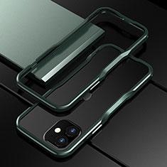 Apple iPhone 12 Mini用ケース 高級感 手触り良い アルミメタル 製の金属製 バンパー カバー N02 アップル モスグリー