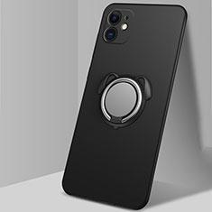 Apple iPhone 12 Mini用極薄ソフトケース シリコンケース 耐衝撃 全面保護 アンド指輪 マグネット式 バンパー N02 アップル ブラック