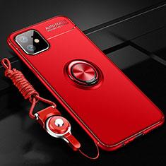 Apple iPhone 12 Mini用極薄ソフトケース シリコンケース 耐衝撃 全面保護 アンド指輪 マグネット式 バンパー N03 アップル レッド