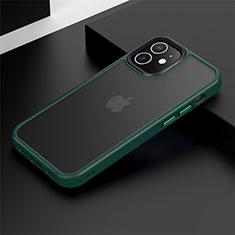 Apple iPhone 12 Mini用ハイブリットバンパーケース プラスチック 兼シリコーン カバー N01 アップル グリーン