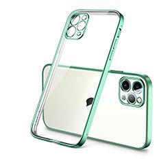 Apple iPhone 12 Pro用極薄ソフトケース シリコンケース 耐衝撃 全面保護 クリア透明 H01 アップル グリーン