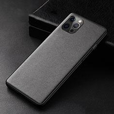 Apple iPhone 12 Pro用ケース 高級感 手触り良いレザー柄 R05 アップル ブラック