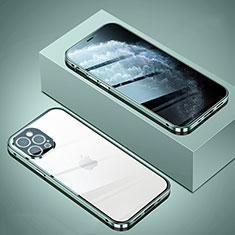 Apple iPhone 12 Pro用ケース 高級感 手触り良い アルミメタル 製の金属製 360度 フルカバーバンパー 鏡面 カバー T02 アップル ライトグリーン